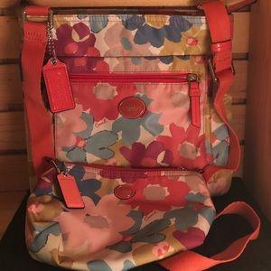 Coach Nylon Floral Crossbody & Cosmetic bag